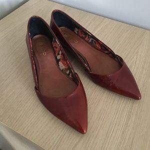 ALDO Red Brown Flats